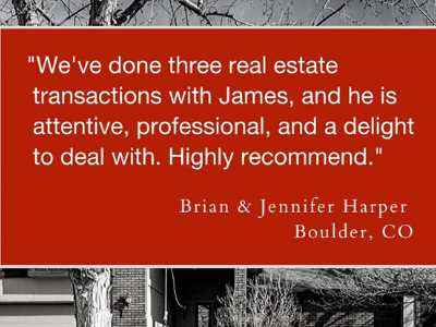 We've done 3 real estate transactions with James.